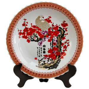 14 Inch Porcelain Plate Cherry Blossom, Width - 14 Inches