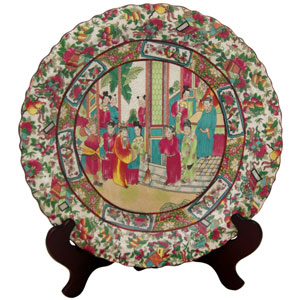 14 Inch Porcelain Plate Rose Medallion, Width - 14 Inches