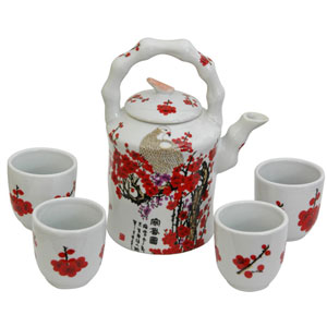 Porcelain Tea Set Cherry Blossom, Width - 6.5 Inches