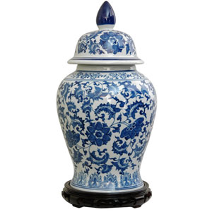 18 Inch Porcelain Temple Jar Blue and White Floral, Width - 10 Inches