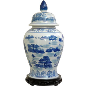 18 Inch Porcelain Temple Jar Blue and White Landscape, Width - 10 Inches
