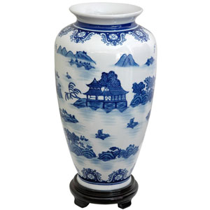 14 Inch Porcelain Tung Chi Vase Blue and Gray Landscape, Width - 8 Inches