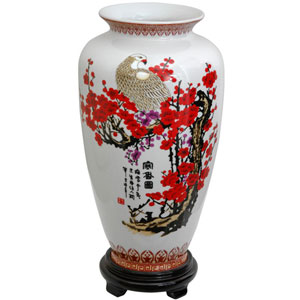 14 Inch Porcelain Tung Chi Vase Cherry Blossom, Width - 8 Inches