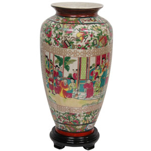 14 Inch Porcelain Tung Chi Vase Rose Medallion, Width - 8 Inches