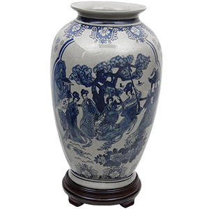 Ladies Blue and White 14-Inch Tung Chi Vase