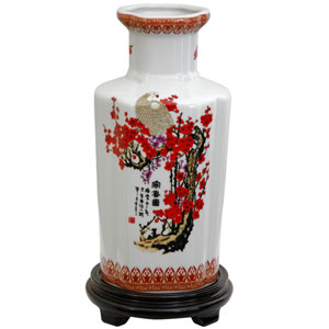 12 Inch Porcelain Vase Cherry Blossom, Width - 6 Inches