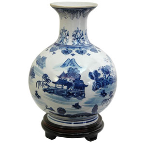 12 Inch Porcelain Vase Blue and White Landscape, Width - 9.5 Inches