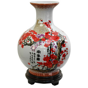12 Inch Porcelain Vase Cherry Blossom, Width - 9.5 Inches