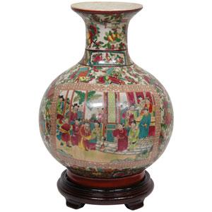 14 Inch Porcelain Vase Rose Medallion, Width - 10 Inches