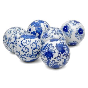 Blue and White 3-Inch Decorative Porcelain Ball Set