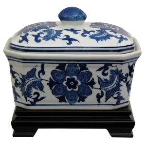 Floral Blue and White Porcelain Covered Jar