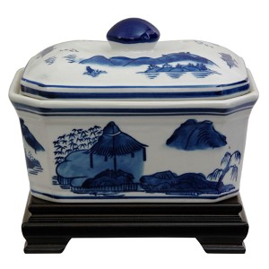 Landscape Blue and White Porcelain Covered Jar