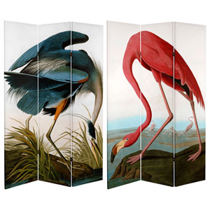 6-Foot Tall Double Sided Audubon Heron and Flamingo Canvas Room Divider