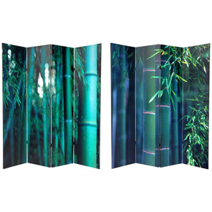 Six Ft. Tall Double Sided Bamboo Tree Canvas Room Divider Four Panel, Width - 64 Inches