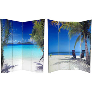 Six Ft. Tall Double Sided Ocean Canvas Room Divider, Width - 64 Inches