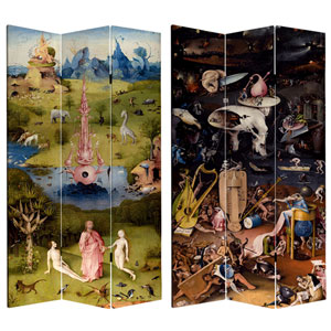 7-Foot Tall Double Sided Garden of Delights Canvas Room Divider