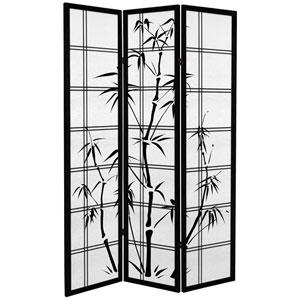 6 ft. Tall Canvas Bamboo Tree Room Divider - Black - 3 Panels