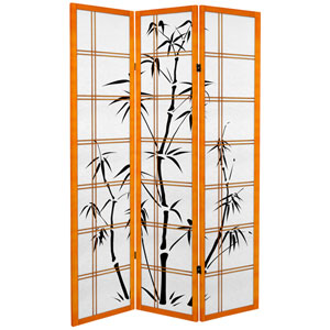 6 ft. Tall Canvas Bamboo Tree Room Divider - Honey - 3 Pamels