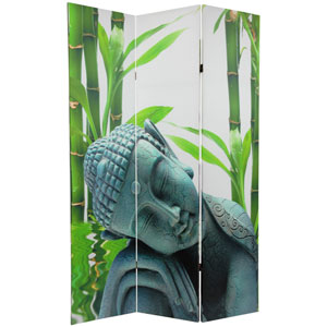 Six Ft. Tall Double Sided Serenity Buddha Room Divider, Width - 48 Inches