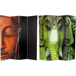 Six Ft. Tall Double Sided Buddha and Ganesh Canvas Room Divider, Width - 64 Inches