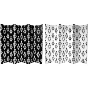 Six Ft. Tall Double Sided Black and White Damask Canvas Room Divider Six Panel, Width - 96 Inches