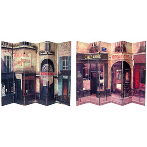 Six Ft Tall Double Sided French Cafe Canvas Room Divider Panel Width