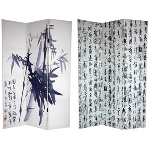 Six Ft. Tall Double Sided Bamboo Calligraphy Canvas Room Divider, Width - 48 Inches