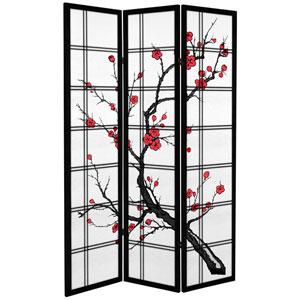 6 ft. Tall Canvas Cherry Blossom Room Divider - Black - 3 Panels