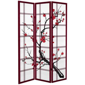 6 ft. Tall Canvas Cherry Blossom Room Divider - Rosewood - 3 Panels