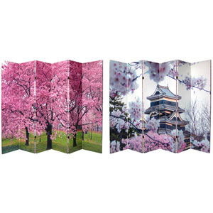 Six Ft. Tall Double Sided Cherry Blossoms Canvas Room Divider Six Panel, Width - 96 Inches