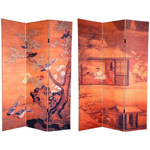 Six Ft. Tall Double Sided Chinese Landscapes Canvas Room Divider, Width - 48 Inches