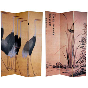 Six Ft. Tall Double Sided Cranes Canvas Room Divider, Width - 48 Inches