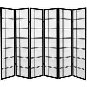 6 ft. Tall Canvas Double Cross Room Divider - Black - 6 Panels