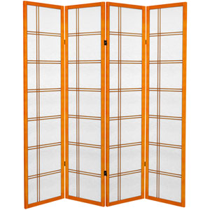 6 ft. Tall Canvas Double Cross Room Divider - Honey - 4 Panels