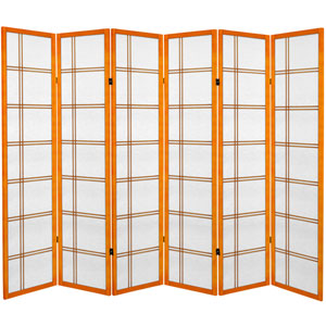 6 ft. Tall Canvas Double Cross Room Divider - Honey - 6 Panels