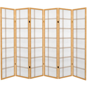 6 ft. Tall Canvas Double Cross Room Divider - Natural - 6 Panels