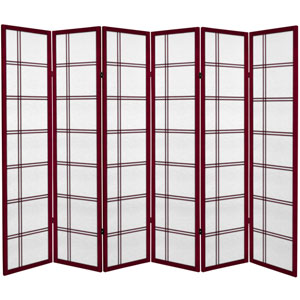 6 ft. Tall Canvas Double Cross Room Divider - Rosewood - 6 Panels
