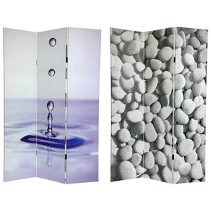 Six Ft. Tall Double Sided Water Zen Canvas Room Divider, Width - 48 Inches