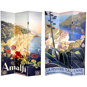Six Ft. Tall Double Sided Amalfi/Riviera Canvas Room Divider, Width - 48 Inches