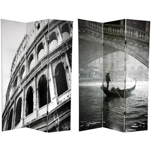 Six Ft. Tall Double Sided Coliseum and Canal Canvas Room Divider, Width - 48 Inches