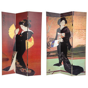 Six Ft. Tall Double Sided Japanese Ladies Canvas Room Divider, Width - 48 Inches