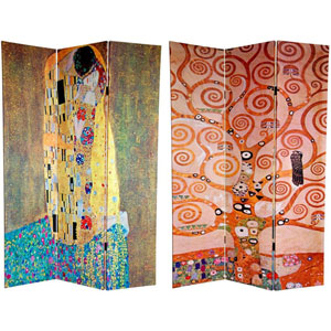 Six Ft. Tall Double Sided Works of Klimt Canvas Room Divider - The Kiss/Tree of Life, Width - 48 Inches