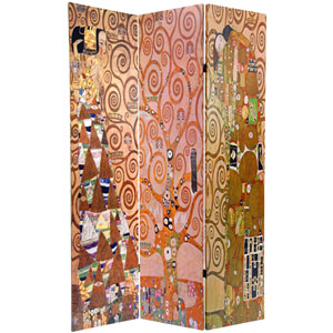 Six Ft. Tall Double Sided Works of Klimt Room Divider - Stoclet Frieze, Width - 48 Inches