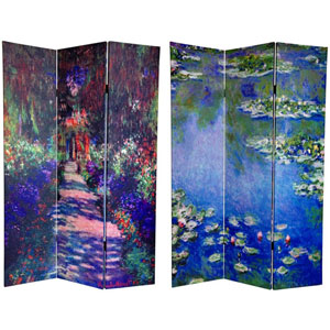 Monets Water Lilies and Garden Path Art Print Room Divider Screen, Width - 48 Inches