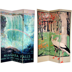 Six Ft. Tall Double Sided Niagara Falls Canvas Room Divider, Width - 48 Inches