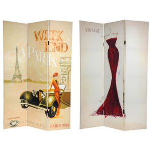 Six Ft. Tall Double Sided Vintage Weekend Canvas Room Divider - Paris, Width - 48 Inches