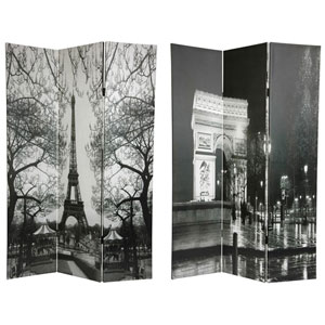 Six Ft. Tall Double Sided Paris Canvas Room Divider - Eiffel Tower/Arc de Triomphe, Width - 48 Inches