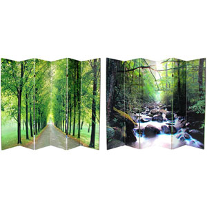 Six Ft. Tall Double Sided Path of Life Canvas Room Divider Six Panel, Width - 96 Inches