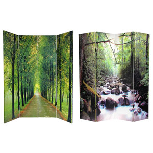 Six Ft. Tall Double Sided Path of Life Canvas Room Divider, Width - 64 Inches