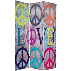 Six Ft. Tall Double Sided Multi - Color Peace and Love Room Divider, Width - 48 Inches
